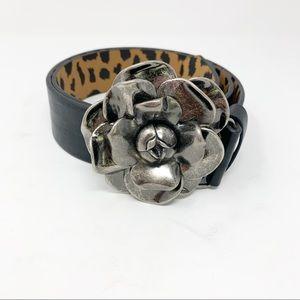 BETSEY JOHNSON Faux Leather Belt Rose Buckle